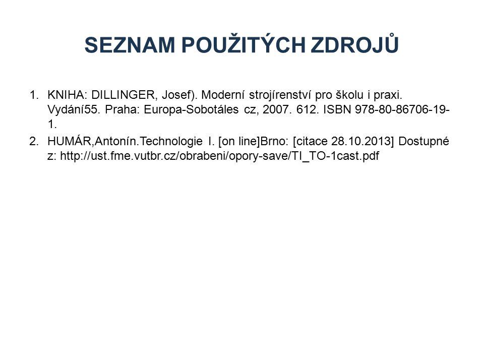 1.KNIHA: DILLINGER, Josef). Moderní strojírenství pro školu i praxi. Vydání55. Praha: Europa-Sobotáles cz, 2007. 612. ISBN 978-80-86706-19- 1. 2.HUMÁR