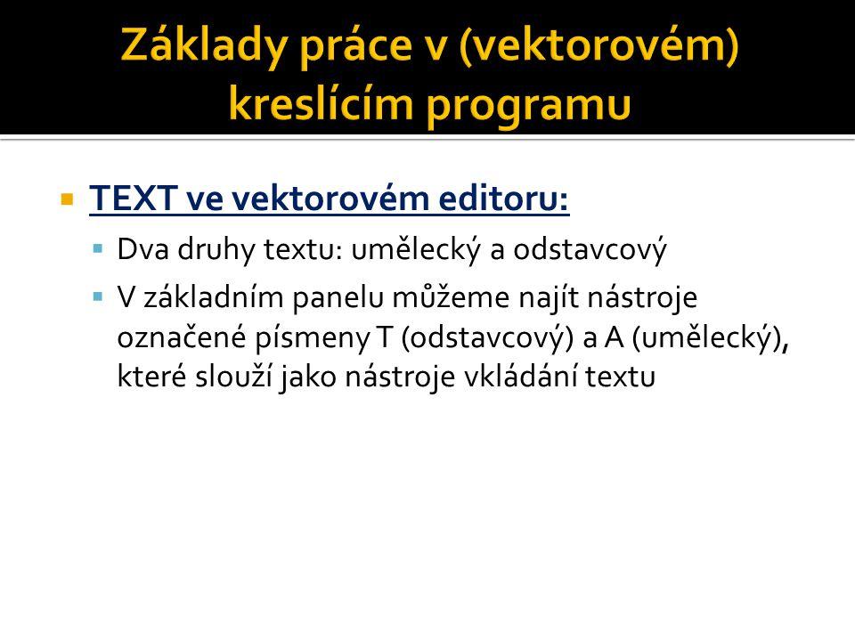  TEXT ve vektorovém editoru:  Dva druhy textu: umělecký a odstavcový  V základním panelu můžeme najít nástroje označené písmeny T (odstavcový) a A (umělecký), které slouží jako nástroje vkládání textu