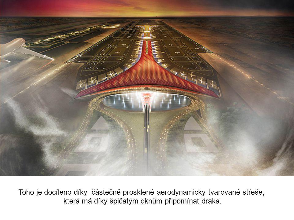 Toho je docíleno díky částečně prosklené aerodynamicky tvarované střeše, která má díky špičatým oknům připomínat draka.