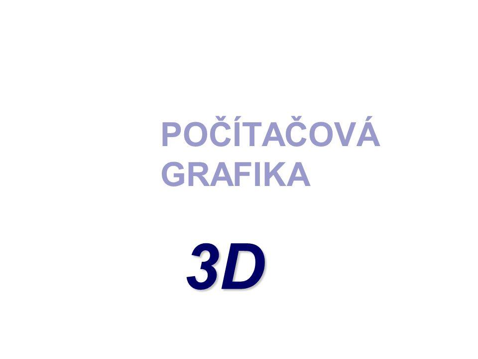 3D PROSTOROVÁ GRAFIKA  Označení pro speciální část počítačové grafiky, která pracuje s trojrozměrnými objekty.
