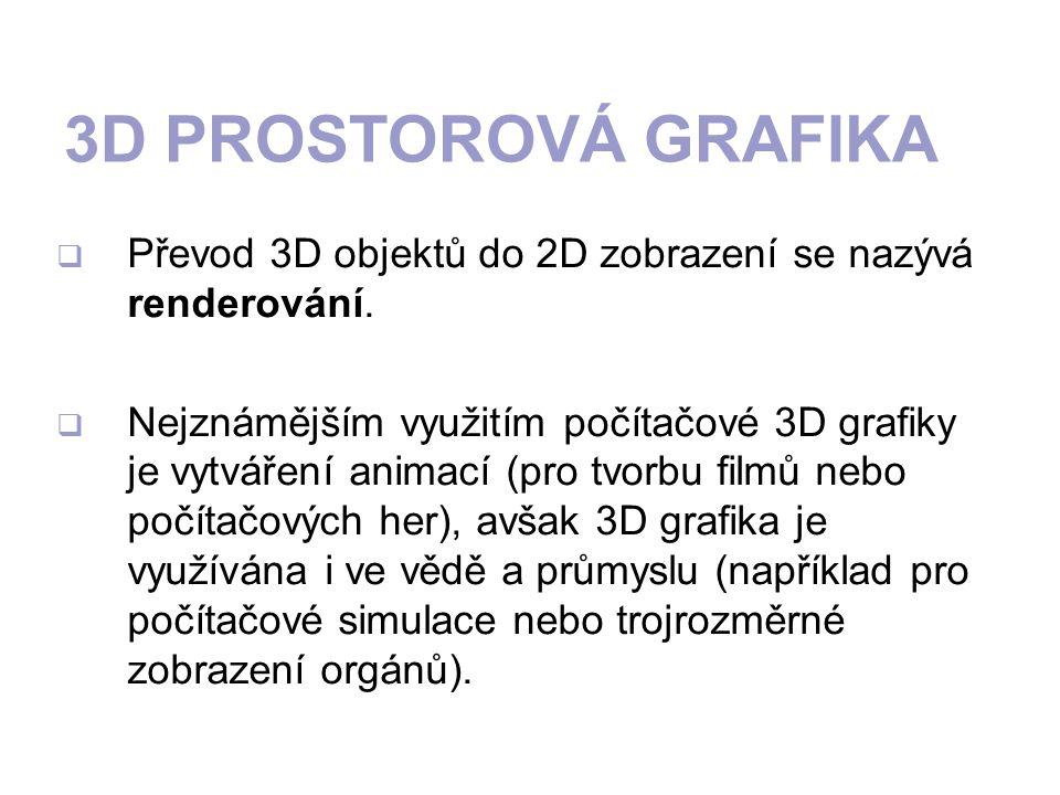 3D PROSTOROVÁ GRAFIKA  Převod 3D objektů do 2D zobrazení se nazývá renderování.