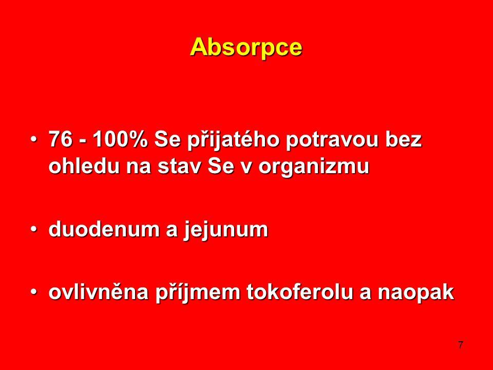 7 Absorpce 76 - 100% Se přijatého potravou bez ohledu na stav Se v organizmu76 - 100% Se přijatého potravou bez ohledu na stav Se v organizmu duodenum