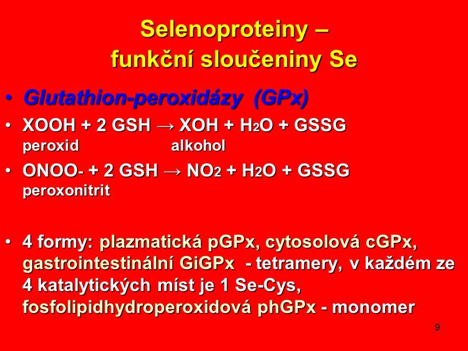 9 Selenoproteiny – funkční sloučeniny Se Glutathion-peroxidázy (GPx)Glutathion-peroxidázy (GPx) XOOH + 2 GSH → XOH + H 2 O + GSSG peroxid alkoholXOOH + 2 GSH → XOH + H 2 O + GSSG peroxid alkohol ONOO - + 2 GSH → NO 2 + H 2 O + GSSG peroxonitritONOO - + 2 GSH → NO 2 + H 2 O + GSSG peroxonitrit 4 formy: plazmatická pGPx, cytosolová cGPx, gastrointestinální GiGPx - tetramery, v každém ze 4 katalytických míst je 1 Se-Cys, fosfolipidhydroperoxidová phGPx - monomer4 formy: plazmatická pGPx, cytosolová cGPx, gastrointestinální GiGPx - tetramery, v každém ze 4 katalytických míst je 1 Se-Cys, fosfolipidhydroperoxidová phGPx - monomer