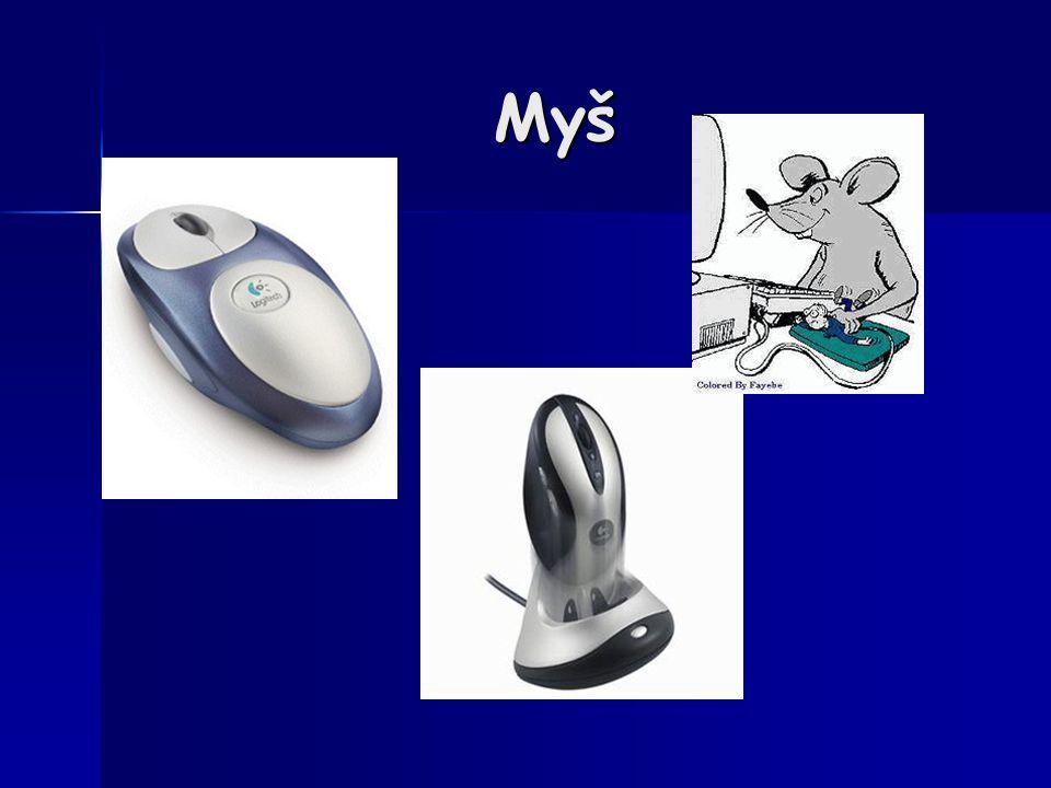 Optomechanická myš Princip Jak se disk otáčí, infračervené světlo je střídavě propouštěno a blokováno, čímž vznikají záblesky, které optický senzor detekuje a elektronika myši je převádí na elektrický signál.