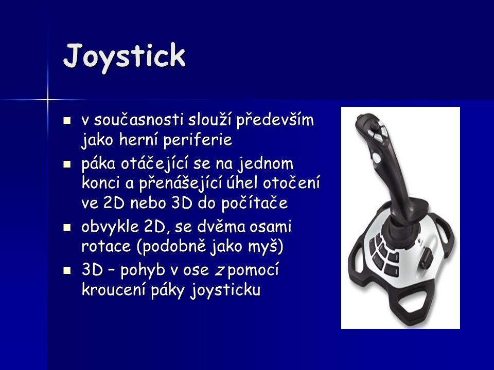 Joystick v současnosti slouží především jako herní periferie v současnosti slouží především jako herní periferie páka otáčející se na jednom konci a p