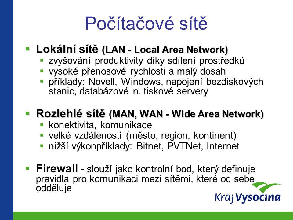 Počítačové sítě  Lokální sítě (LAN - Local Area Network)  zvyšování produktivity díky sdílení prostředků  vysoké přenosové rychlosti a malý dosah  příklady: Novell, Windows, napojení bezdiskových stanic, databázové n.