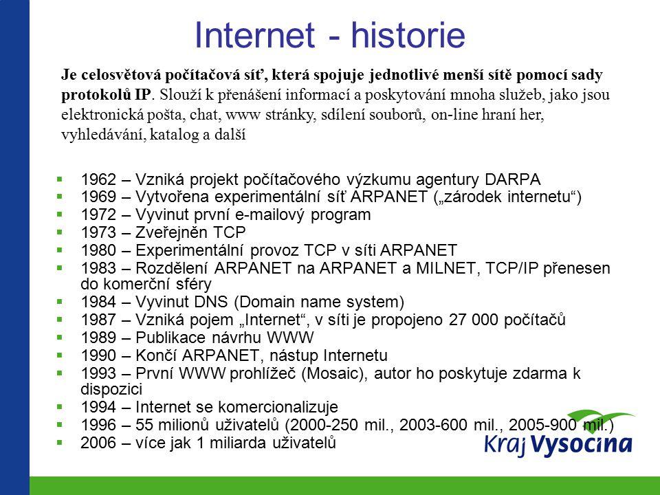 """Internet - historie  1962 – Vzniká projekt počítačového výzkumu agentury DARPA  1969 – Vytvořena experimentální síť ARPANET (""""zárodek internetu )  1972 – Vyvinut první e-mailový program  1973 – Zveřejněn TCP  1980 – Experimentální provoz TCP v síti ARPANET  1983 – Rozdělení ARPANET na ARPANET a MILNET, TCP/IP přenesen do komerční sféry  1984 – Vyvinut DNS (Domain name system)  1987 – Vzniká pojem """"Internet , v síti je propojeno 27 000 počítačů  1989 – Publikace návrhu WWW  1990 – Končí ARPANET, nástup Internetu  1993 – První WWW prohlížeč (Mosaic), autor ho poskytuje zdarma k dispozici  1994 – Internet se komercionalizuje  1996 – 55 milionů uživatelů (2000-250 mil., 2003-600 mil., 2005-900 mil.)  2006 – více jak 1 miliarda uživatelů Je celosvětová počítačová síť, která spojuje jednotlivé menší sítě pomocí sady protokolů IP."""