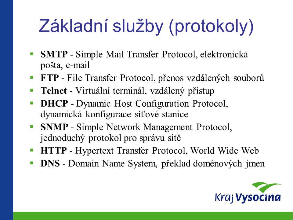 Základní služby (protokoly)  SMTP - Simple Mail Transfer Protocol, elektronická pošta, e-mail  FTP - File Transfer Protocol, přenos vzdálených souborů  Telnet - Virtuální terminál, vzdálený přístup  DHCP - Dynamic Host Configuration Protocol, dynamická konfigurace síťové stanice  SNMP - Simple Network Management Protocol, jednoduchý protokol pro správu sítě  HTTP - Hypertext Transfer Protocol, World Wide Web  DNS - Domain Name System, překlad doménových jmen