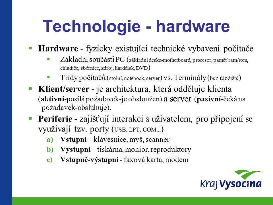 Technologie - hardware  Hardware - fyzicky existující technické vybavení počítače  Základní součásti PC ( základní deska-motherboard, procesor, paměť ram/rom, chladiče, sběrnice, zdroj, harddisk, DVD )  Třídy počítačů ( stolní, notebook, server ) vs.