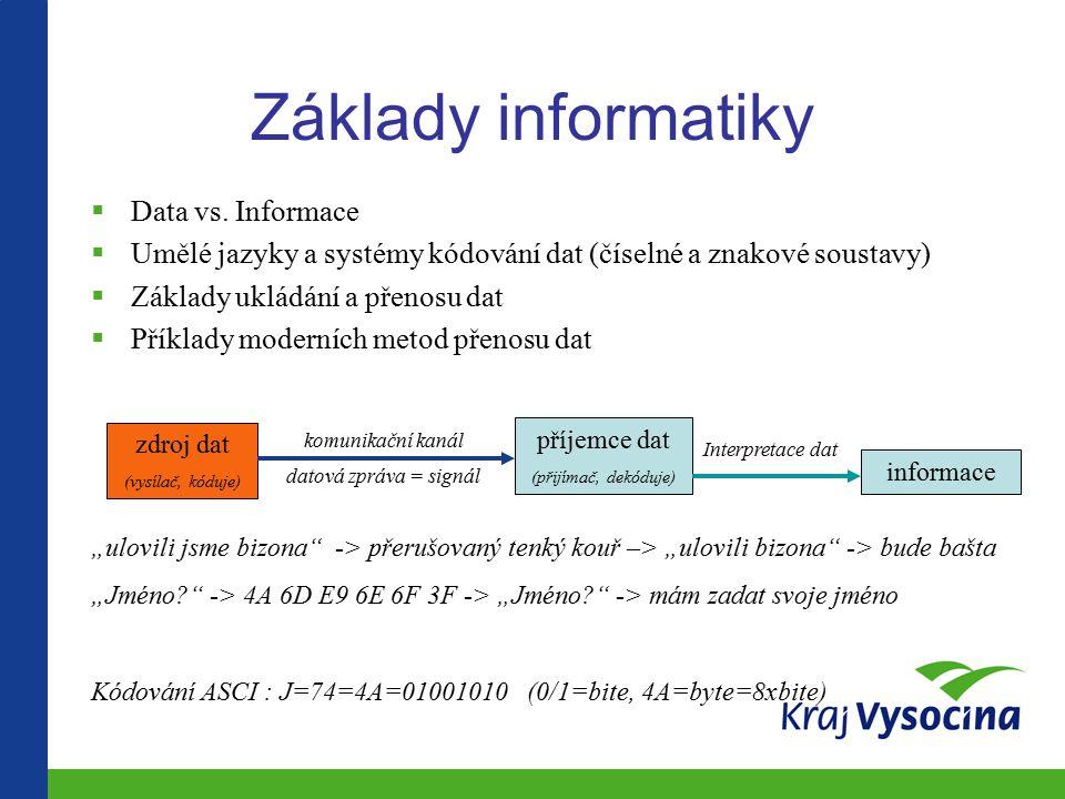 Základy informatiky  Data vs.
