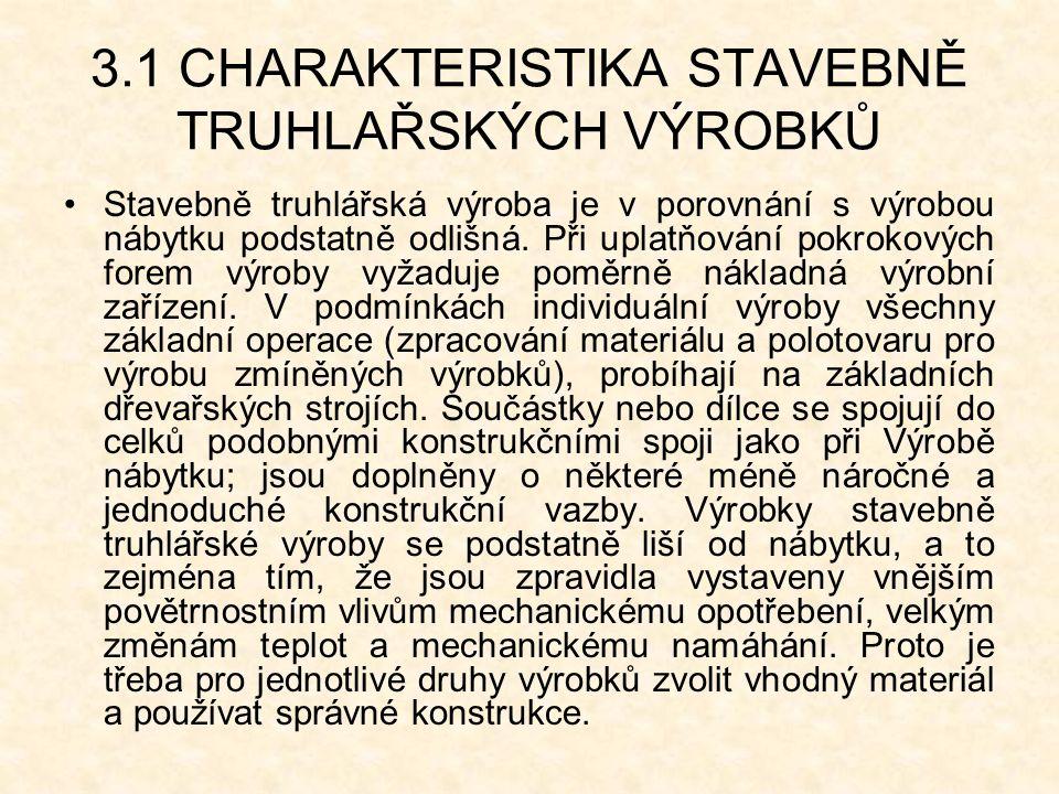 3.1 CHARAKTERISTIKA STAVEBNĚ TRUHLAŘSKÝCH VÝROBKŮ Stavebně truhlářská výroba je v porovnání s výrobou nábytku podstatně odlišná.