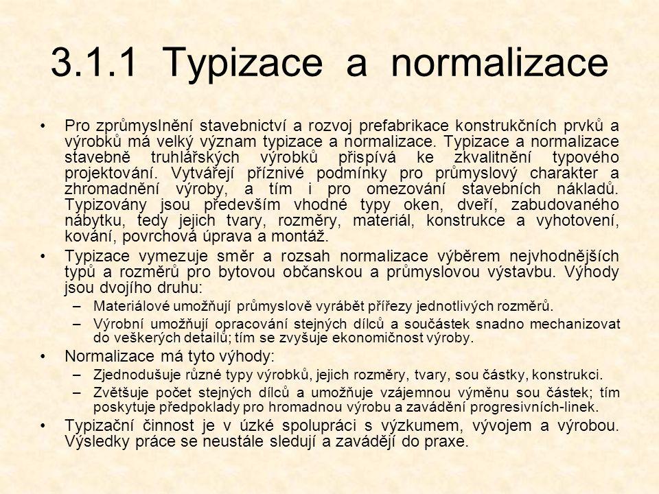 3.1.1 Typizace a normalizace Pro zprůmyslnění stavebnictví a rozvoj prefabrikace konstrukčních prvků a výrobků má velký význam typizace a normalizace.