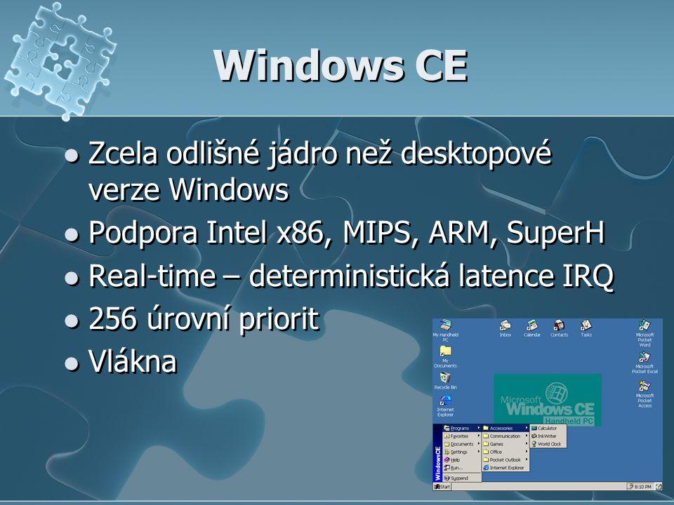 Windows CE Zcela odlišné jádro než desktopové verze Windows Podpora Intel x86, MIPS, ARM, SuperH Real-time – deterministická latence IRQ 256 úrovní priorit Vlákna Zcela odlišné jádro než desktopové verze Windows Podpora Intel x86, MIPS, ARM, SuperH Real-time – deterministická latence IRQ 256 úrovní priorit Vlákna