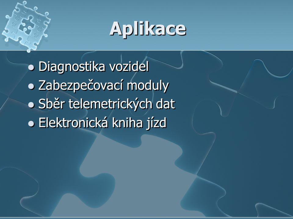 Aplikace Diagnostika vozidel Zabezpečovací moduly Sběr telemetrických dat Elektronická kniha jízd Diagnostika vozidel Zabezpečovací moduly Sběr telemetrických dat Elektronická kniha jízd