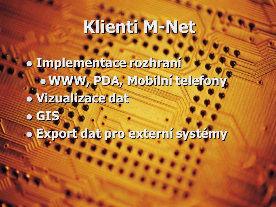 Klienti M-Net Implementace rozhraní WWW, PDA, Mobilní telefony Vizualizace dat GIS Export dat pro externí systémy Implementace rozhraní WWW, PDA, Mobilní telefony Vizualizace dat GIS Export dat pro externí systémy