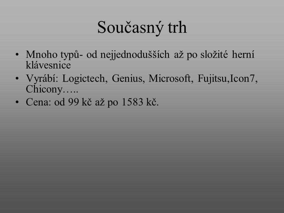 Současný trh Mnoho typů- od nejjednodušších až po složité herní klávesnice Vyrábí: Logictech, Genius, Microsoft, Fujitsu,Icon7, Chicony….. Cena: od 99