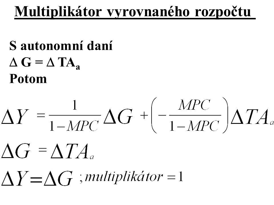 Multiplikátor vyrovnaného rozpočtu S autonomní daní  G =  TA a Potom