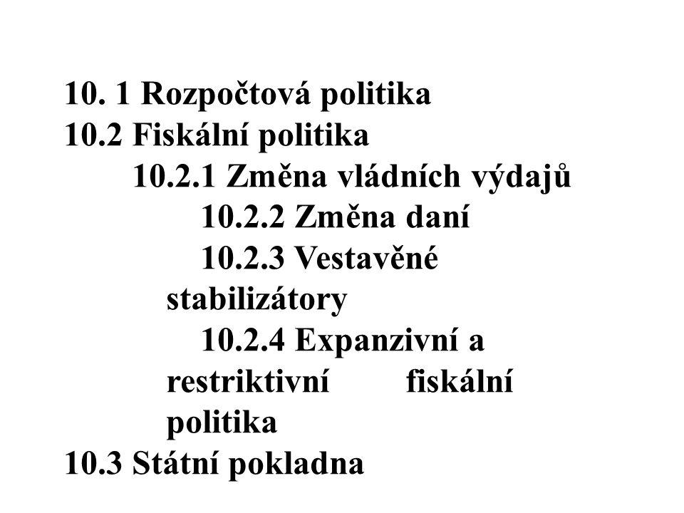 10. 1 Rozpočtová politika 10.2 Fiskální politika 10.2.1 Změna vládních výdajů 10.2.2 Změna daní 10.2.3 Vestavěné stabilizátory 10.2.4 Expanzivní a res