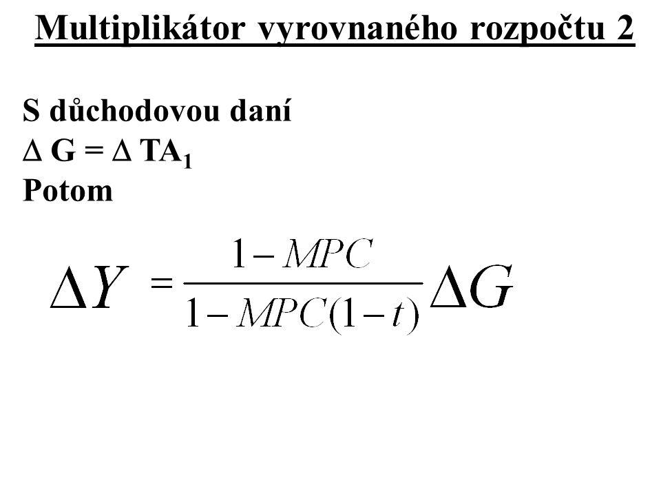 Multiplikátor vyrovnaného rozpočtu 2 S důchodovou daní  G =  TA 1 Potom