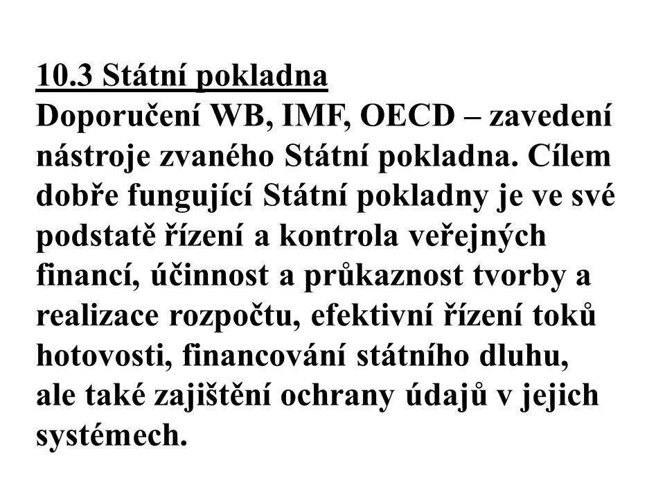 10.3 Státní pokladna Doporučení WB, IMF, OECD – zavedení nástroje zvaného Státní pokladna. Cílem dobře fungující Státní pokladny je ve své podstatě ří