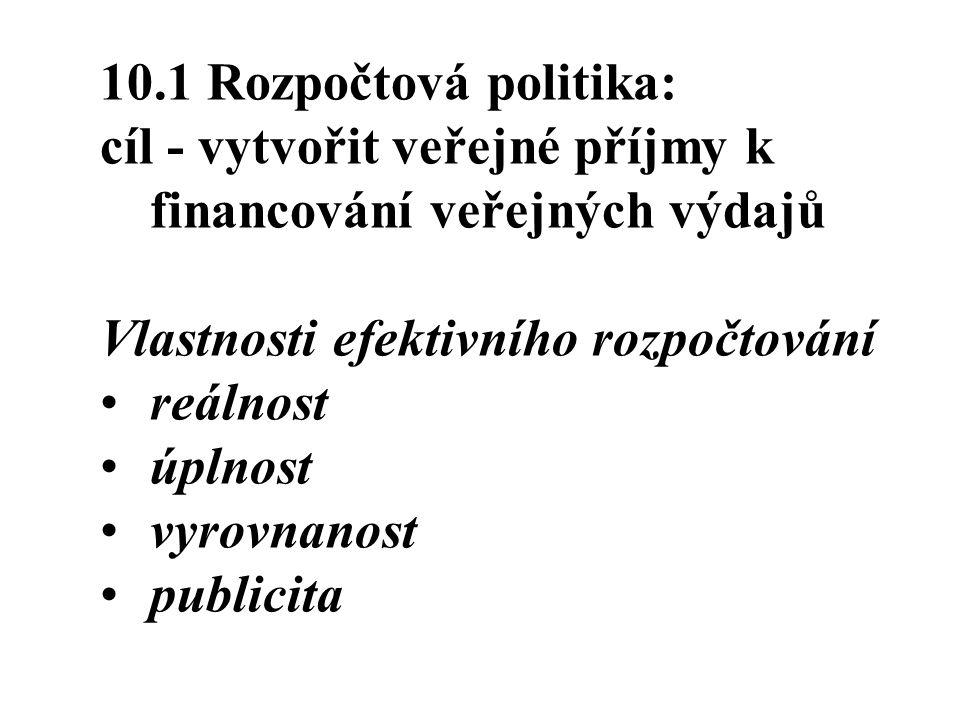 10.1 Rozpočtová politika: cíl - vytvořit veřejné příjmy k financování veřejných výdajů Vlastnosti efektivního rozpočtování reálnost úplnost vyrovnanost publicita
