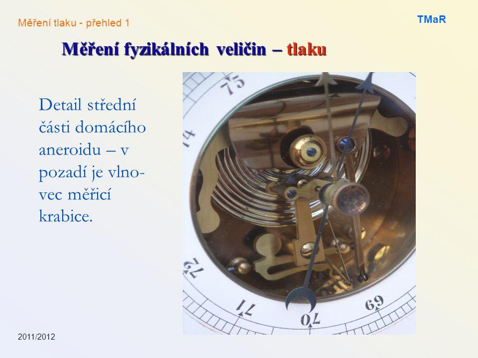 2011/2012 TMaR Měření fyzikálních veličin – tlaku Měření tlaku - přehled 1 Detail střední části domácího aneroidu – v pozadí je vlno- vec měřicí krabi
