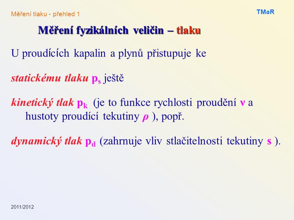 U proud í c í ch kapalin a plynů přistupuje ke statickému tlaku p s ještě kinetický tlak p k (je to funkce rychlosti proudění ν a hustoty proudící tek