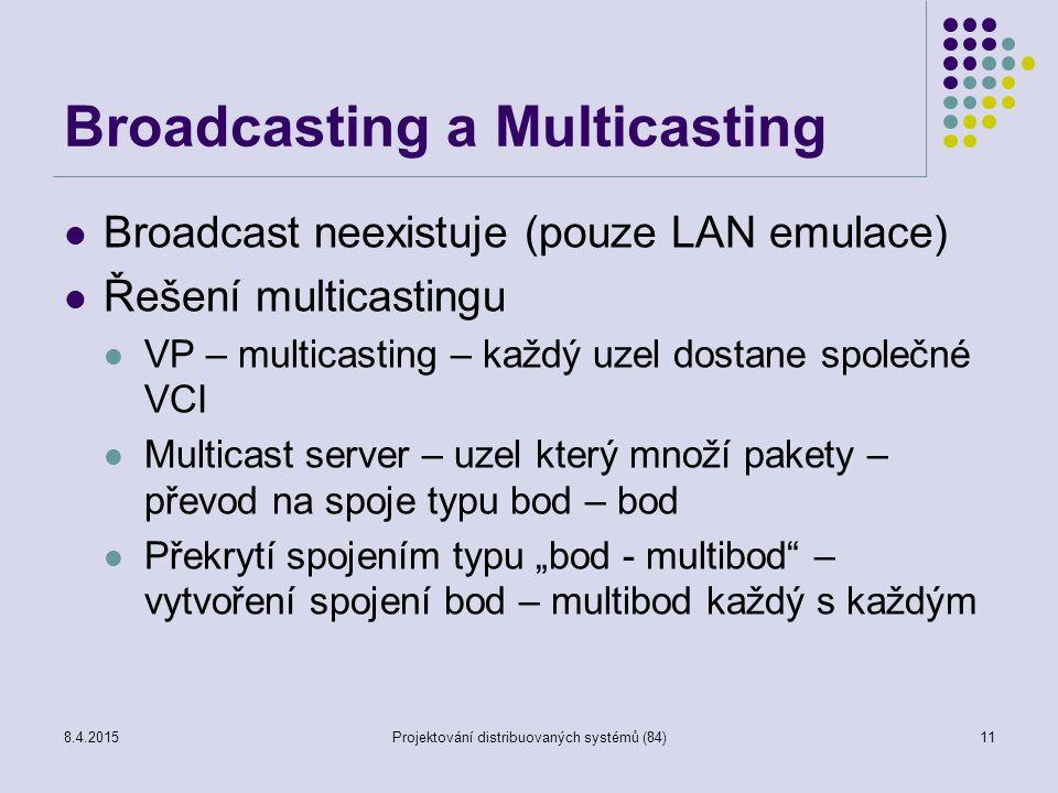 """Broadcasting a Multicasting Broadcast neexistuje (pouze LAN emulace) Řešení multicastingu VP – multicasting – každý uzel dostane společné VCI Multicast server – uzel který množí pakety – převod na spoje typu bod – bod Překrytí spojením typu """"bod - multibod – vytvoření spojení bod – multibod každý s každým 11Projektování distribuovaných systémů (84)8.4.2015"""
