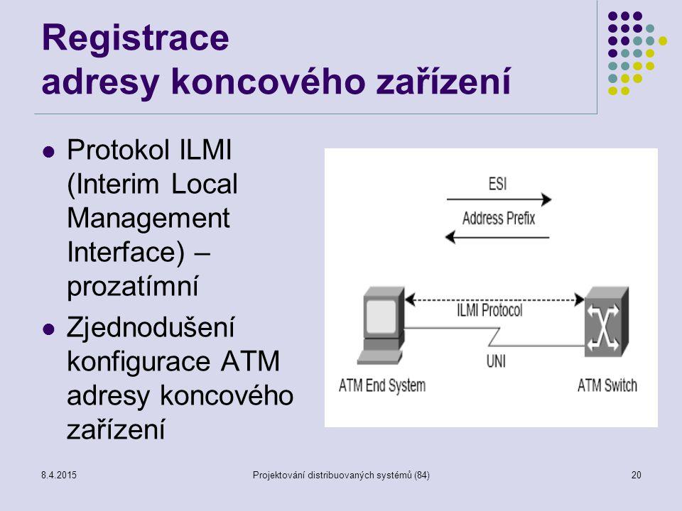 Registrace adresy koncového zařízení Protokol ILMI (Interim Local Management Interface) – prozatímní Zjednodušení konfigurace ATM adresy koncového zařízení 20Projektování distribuovaných systémů (84)8.4.2015
