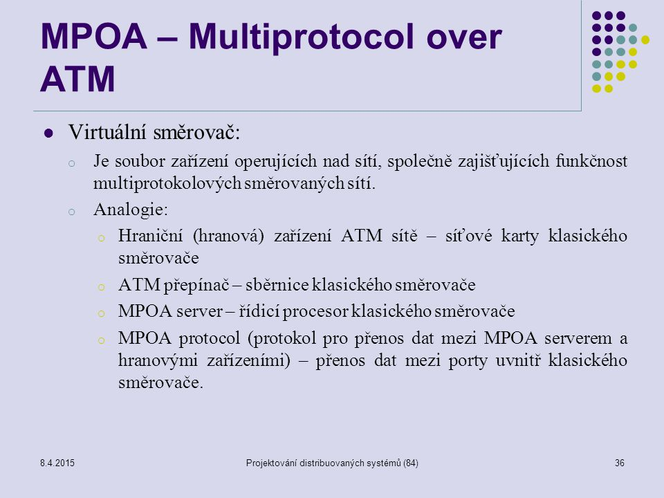 MPOA – Multiprotocol over ATM Virtuální směrovač: o Je soubor zařízení operujících nad sítí, společně zajišťujících funkčnost multiprotokolových směro