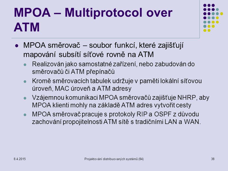 MPOA – Multiprotocol over ATM MPOA směrovač – soubor funkcí, které zajišťují mapování subsítí síťové rovně na ATM Realizován jako samostatné zařízení, nebo zabudován do směrovačů či ATM přepínačů Kromě směrovacích tabulek udržuje v paměti lokální síťovou úroveň, MAC úroveň a ATM adresy Vzájemnou komunikaci MPOA směrovačů zajišťuje NHRP, aby MPOA klienti mohly na základě ATM adres vytvořit cesty MPOA směrovač pracuje s protokoly RIP a OSPF z důvodu zachování propojitelnosti ATM sítě s tradičními LAN a WAN.