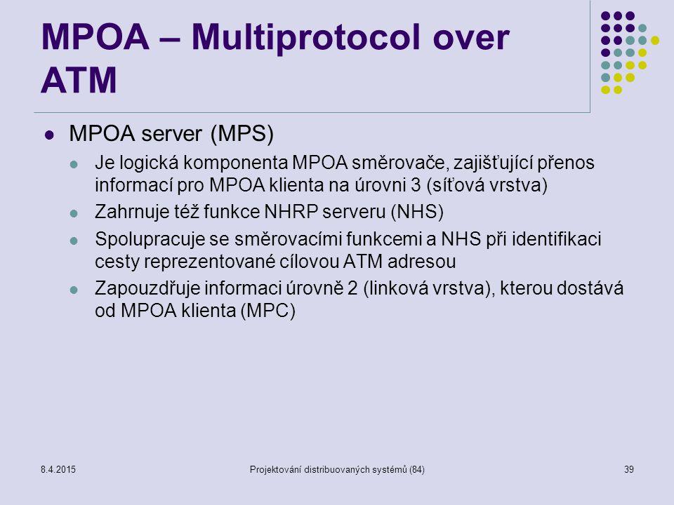 MPOA – Multiprotocol over ATM MPOA server (MPS) Je logická komponenta MPOA směrovače, zajišťující přenos informací pro MPOA klienta na úrovni 3 (síťov