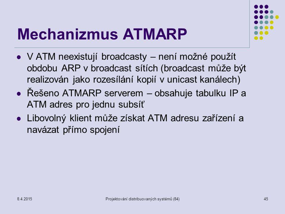 Mechanizmus ATMARP V ATM neexistují broadcasty – není možné použít obdobu ARP v broadcast sítích (broadcast může být realizován jako rozesílání kopií v unicast kanálech) Řešeno ATMARP serverem – obsahuje tabulku IP a ATM adres pro jednu subsíť Libovolný klient může získat ATM adresu zařízení a navázat přímo spojení 45Projektování distribuovaných systémů (84)8.4.2015