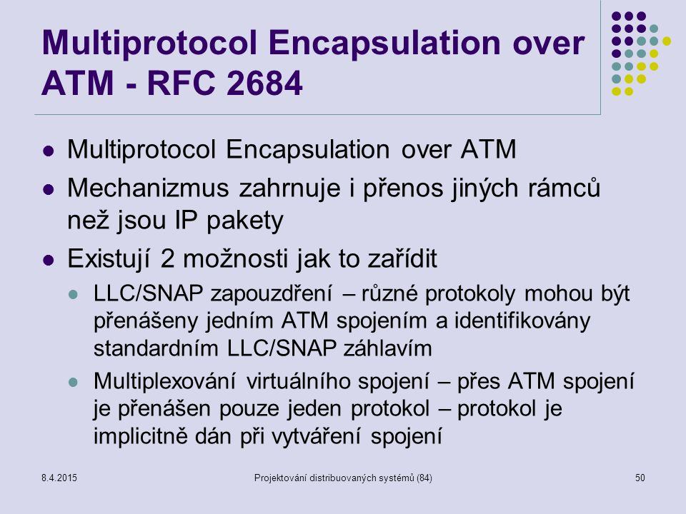Multiprotocol Encapsulation over ATM - RFC 2684 Multiprotocol Encapsulation over ATM Mechanizmus zahrnuje i přenos jiných rámců než jsou IP pakety Exi