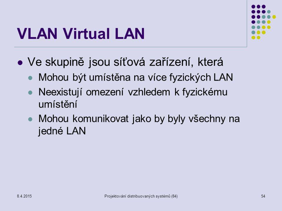 VLAN Virtual LAN Ve skupině jsou síťová zařízení, která Mohou být umístěna na více fyzických LAN Neexistují omezení vzhledem k fyzickému umístění Mohou komunikovat jako by byly všechny na jedné LAN 54Projektování distribuovaných systémů (84)8.4.2015