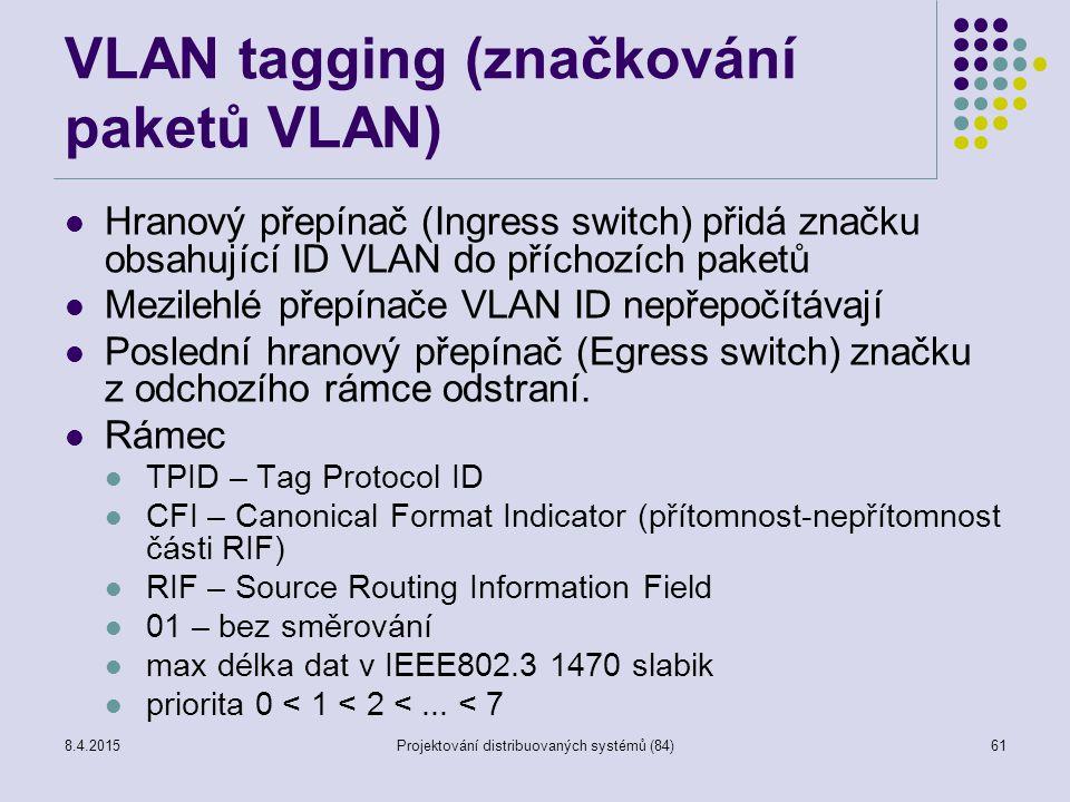 VLAN tagging (značkování paketů VLAN) Hranový přepínač (Ingress switch) přidá značku obsahující ID VLAN do příchozích paketů Mezilehlé přepínače VLAN ID nepřepočítávají Poslední hranový přepínač (Egress switch) značku z odchozího rámce odstraní.