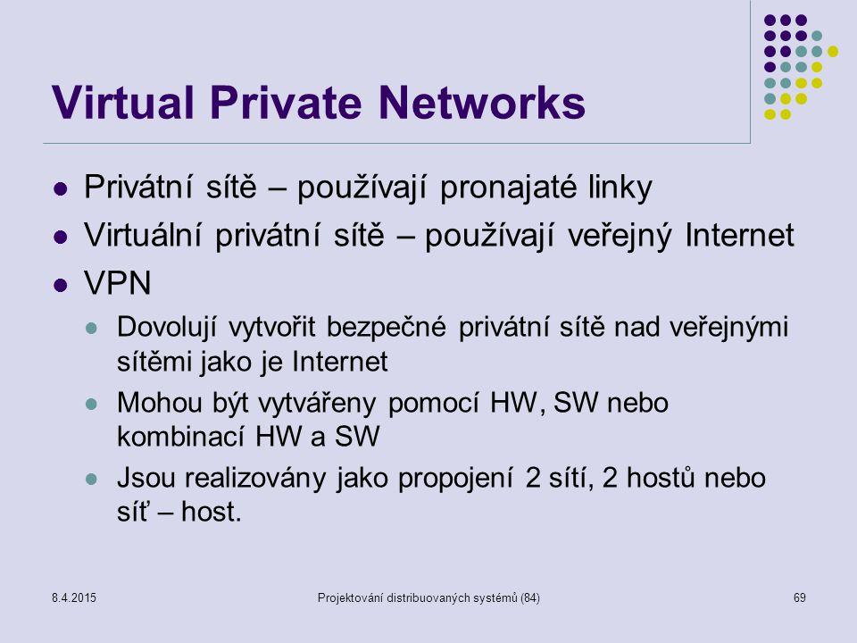 Virtual Private Networks Privátní sítě – používají pronajaté linky Virtuální privátní sítě – používají veřejný Internet VPN Dovolují vytvořit bezpečné privátní sítě nad veřejnými sítěmi jako je Internet Mohou být vytvářeny pomocí HW, SW nebo kombinací HW a SW Jsou realizovány jako propojení 2 sítí, 2 hostů nebo síť – host.