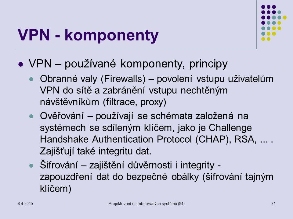 VPN - komponenty VPN – používané komponenty, principy Obranné valy (Firewalls) – povolení vstupu uživatelům VPN do sítě a zabránění vstupu nechtěným n