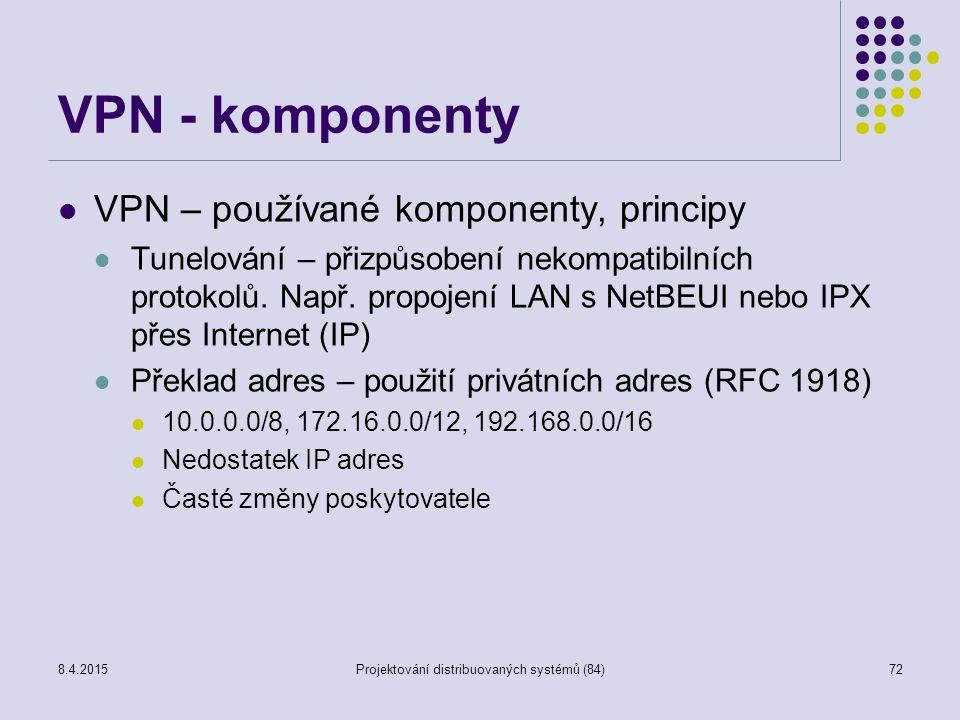 VPN - komponenty VPN – používané komponenty, principy Tunelování – přizpůsobení nekompatibilních protokolů. Např. propojení LAN s NetBEUI nebo IPX pře
