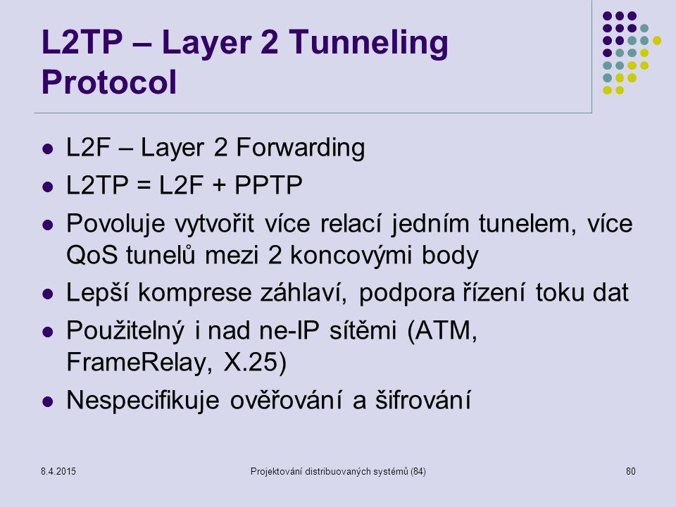 L2TP – Layer 2 Tunneling Protocol L2F – Layer 2 Forwarding L2TP = L2F + PPTP Povoluje vytvořit více relací jedním tunelem, více QoS tunelů mezi 2 konc