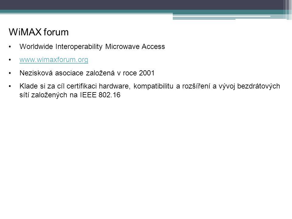 WiMAX forum Worldwide Interoperability Microwave Access www.wimaxforum.org Nezisková asociace založená v roce 2001 Klade si za cíl certifikaci hardware, kompatibilitu a rozšíření a vývoj bezdrátových sítí založených na IEEE 802.16