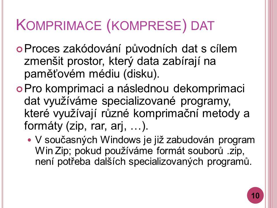 K OMPRIMACE ( KOMPRESE ) DAT Proces zakódování původních dat s cílem zmenšit prostor, který data zabírají na paměťovém médiu (disku).