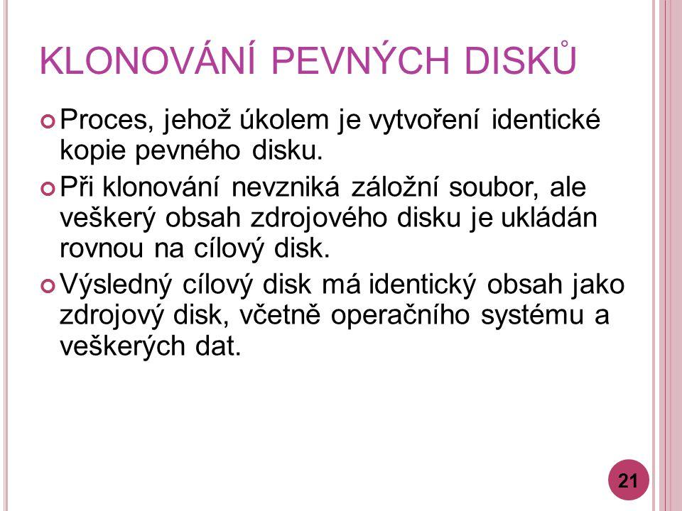 KLONOVÁNÍ PEVNÝCH DISKŮ Proces, jehož úkolem je vytvoření identické kopie pevného disku.