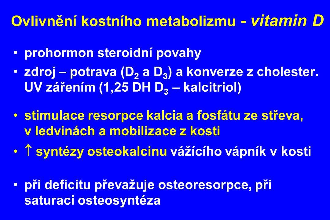 Ovlivnění kostního metabolizmu - vitamin D prohormon steroidní povahy zdroj – potrava (D 2 a D 3 ) a konverze z cholester. UV zářením (1,25 DH D 3 – k