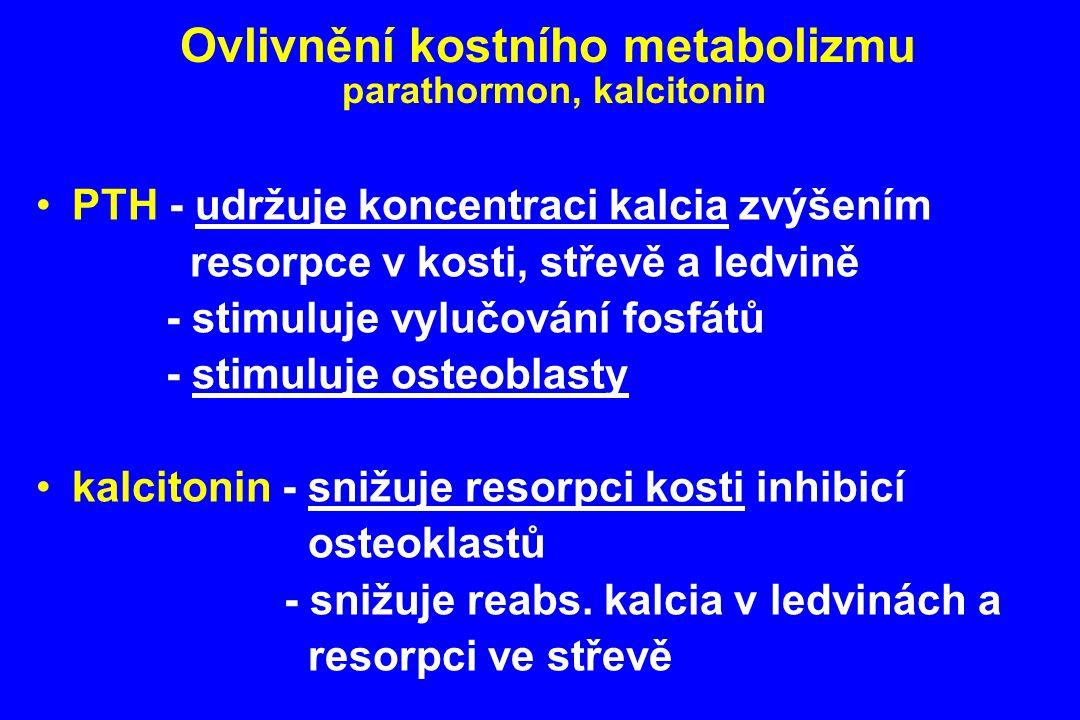 Ovlivnění kostního metabolizmu parathormon, kalcitonin PTH - udržuje koncentraci kalcia zvýšením resorpce v kosti, střevě a ledvině - stimuluje vylučo