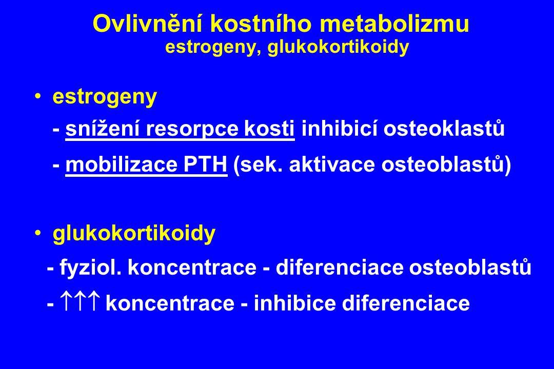 Ovlivnění kostního metabolizmu estrogeny, glukokortikoidy estrogeny - snížení resorpce kosti inhibicí osteoklastů - mobilizace PTH (sek. aktivace oste