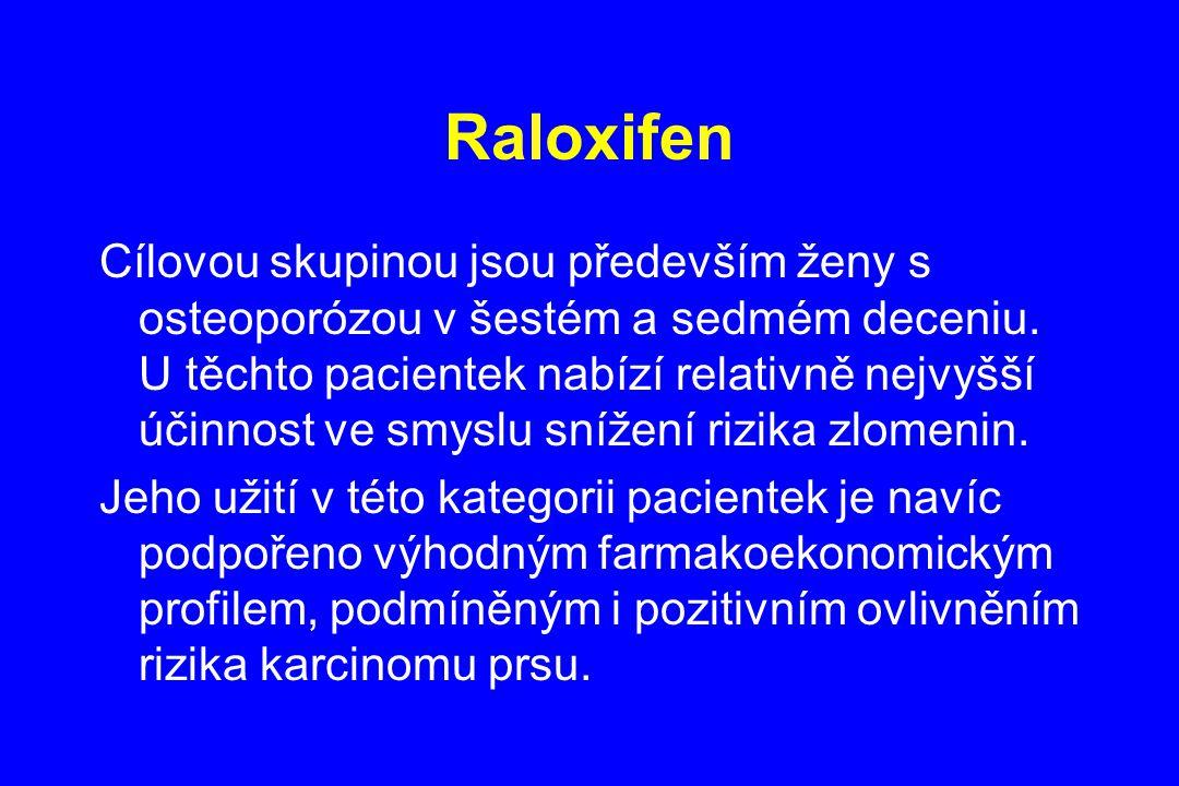 Raloxifen Cílovou skupinou jsou především ženy s osteoporózou v šestém a sedmém deceniu. U těchto pacientek nabízí relativně nejvyšší účinnost ve smys