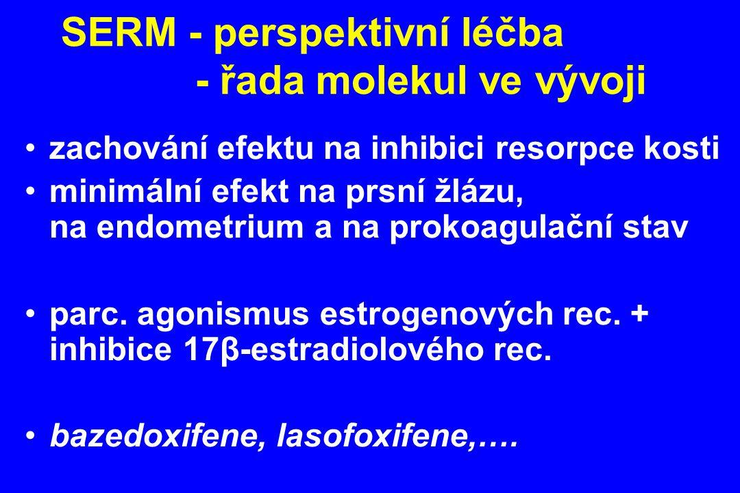 zachování efektu na inhibici resorpce kosti minimální efekt na prsní žlázu, na endometrium a na prokoagulační stav parc. agonismus estrogenových rec.