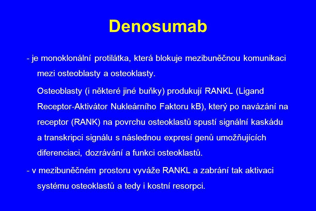 Denosumab - je monoklonální protilátka, která blokuje mezibuněčnou komunikaci mezi osteoblasty a osteoklasty. Osteoblasty (i některé jiné buňky) produ