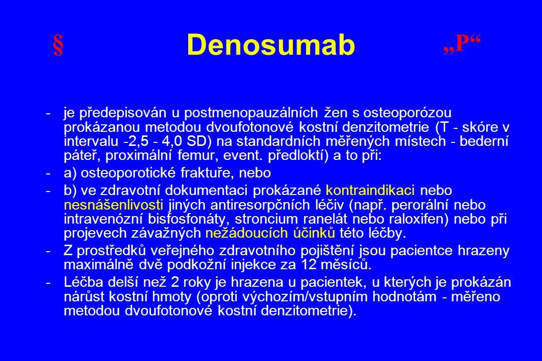 -je předepisován u postmenopauzálních žen s osteoporózou prokázanou metodou dvoufotonové kostní denzitometrie (T - skóre v intervalu -2,5 - 4,0 SD) na